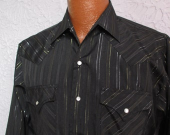 70's Vintage Men's Black Silver Lame' Western Shirt med