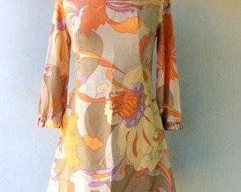 1960s Floral MOD Silk Mini Dress