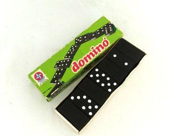 ON SALE Vintage 1970s Brazilian Estrela black and white wood dominoes, retro game