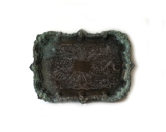 Vintage Viners silver plate verdigris ornate large serving tray, large butler tray, decor tray