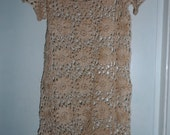 Crochet lace flowers cream natural linen boho hippie gipsy beach tunic dress shirt top blouse Ready to ship