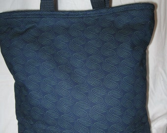 Lunch Bag, Adult Lunch Tote, Blue Swirls Lunchbag, Insulated Lunch Bag, Eco Friendly Fabric Tote, Thermal Tote Bag