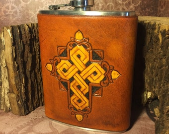 Cross in Leather Flask Antique Saddle Tan - 8oz Stainless Steel Flask - ALREADY MADE - Rustic Traditional Rancher Cowboy