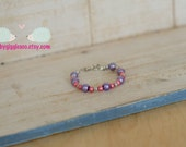 Pink and Purple Glass Imitation Faux Pearl Beads Bracelet