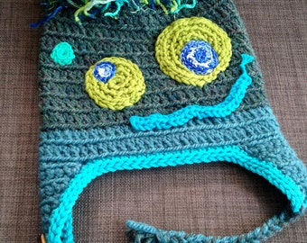 Knotty Monster Hat, Unique, One of a Kind, Hand Crocheted