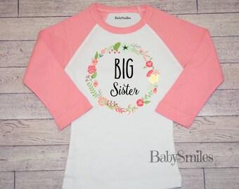 Big Sister Shirt Little Sister Shirt Beautiful Floral Heart Big Sister Shirt Big Sis Shirt Sibling Shirts Pregnancy Announcement Floral