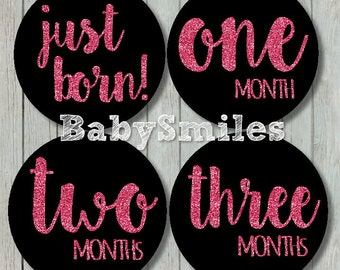 FREE GIFT Monthly Baby Stickers Baby Month Stickers Girl Month Stickers Monthly Bodysuit Sticker Monthly Milestone Stickers - Pink Glitter