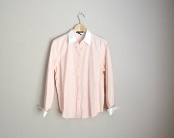 STOREWIDE 15% off SALE - Vintage 90s Ralph Lauren Peach White Striped Oxford Button Up Shirt Blouse // womens large