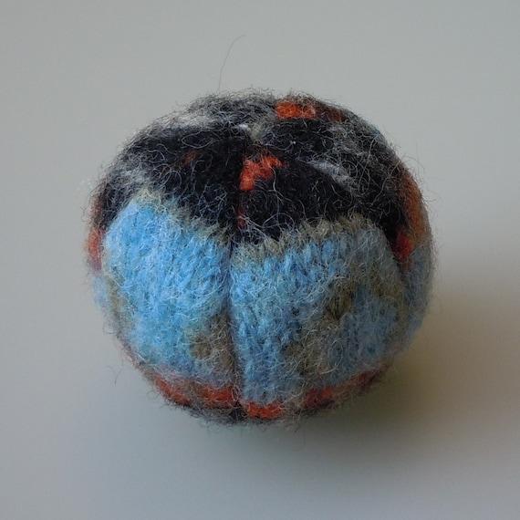 Catnip Ball Cat Toy in Felted Shetland Wool