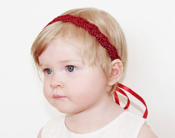 Red Baby Headband, Christmas Baby Girl Headband, Crochet Headband, Newborn Gift, Baby Photo Prop, Flower Girl Headband, CUSTOM COLORS