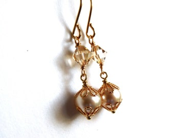 Cream gold pearl earrings, crystal and pearl, filigree bead caps, two part drop wire wrapped gold earrings, Austrian crystal pearl jewelry