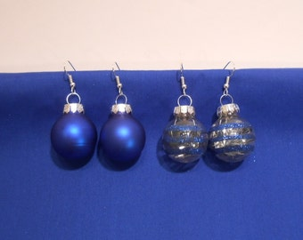 Glass Ball Christmas Ornament Holiday Earrings - Blue Satin or Glitter Striped