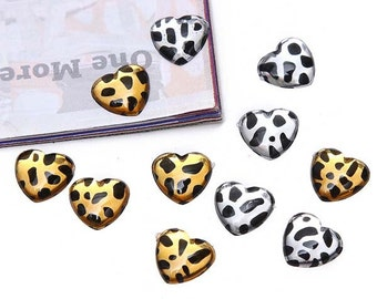 20pcs Leopard Style Heart + Oval Shaped Cabochon Clear Champagne Colors Flatback