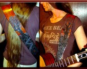 OAK TREES Design • A Beautifully Hand Tooled,  Hand Crafted Leather Guitar Strap