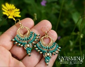 macrame earring, tribal earrings, turquoise earrings, fan earrings, boho earrings, turquoise and gold earrings, ethnic earrings, makrame