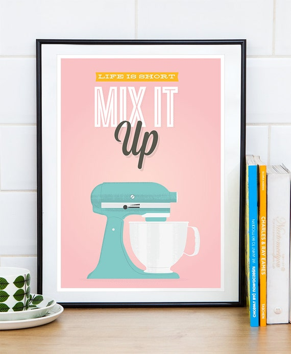 Retro Kitchen Wall Decor: Kitchen Poster Quote Print Retro Kitchen Print Pink Home
