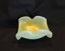 Murano Art Glass Ashtray Pale Green Color with 24K Gold Swirls Throughout