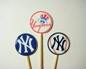 15 New York Yankee Party Picks - Cupcake Toppers - Toothpicks - Food Picks - Party Supplies FP580