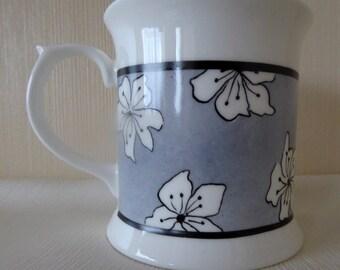 hand painted mug, bone china mug, grey mug, china tankard coffee, tea mug