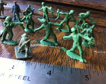 Plastic Soldiers Military Men Tiny, tiny Huge Lot 50 pieces in each lot  Several lots available Circa 50s or earlier Navy Green Tan Military