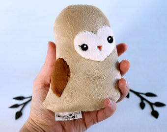 Barn Owl Plushie. Owl Stuffed Animal, Barn Owl Softie, Little Owl Doll, Minky Plush, Small Woodland Plush, Cute Owl Softie, Artist Toy