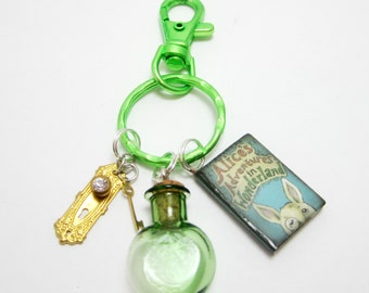 Alice in Wonderland Key Chain Alice's Adventures in Wonderland Book Green Bottle Door Knob and Key Charms
