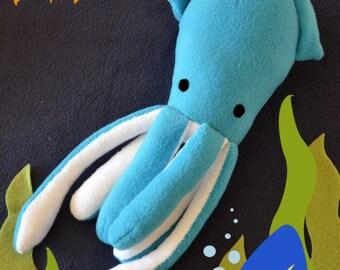 Handmade Fleece Baby Kraken Giant Squid Squeak or Rattle Soft Toy for Child or Pet Dog