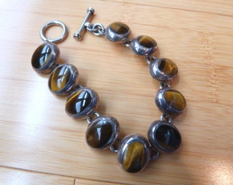 Vintage Mexico Heavy Sterling Silver Bracelet with Tiger Eye Stones