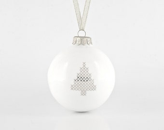 Christmas Ornament with Christmas Tree - Big Christmas Bauble - White and Silver Christmas Ornaments