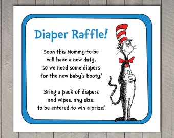 Dr. Seuss Baby Shower Diaper Raffle Invitation Insert and Raffle Tickets - The Cat in the Hat