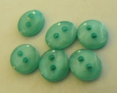 6 Teal Mini Glassy Oval Buttons Size 3/8""