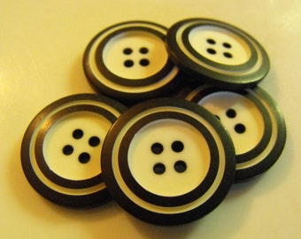 """10 Black with White Outer Ring Large Round Buttons Size 1"""""""