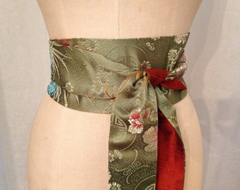 Mossy Green Asian Brocade and Autumnal Orange Silk Shantung Reversible Obi Sash