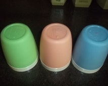 Vintage Bolero Thermo Ware Insulated Drinking glasses set of 3 in pastel blue, green, and pink - very retro!