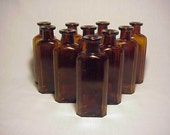 Group of Ten c1890s 2 ounce size Amber Blown Glass Cork Top Medicine bottles No. 1