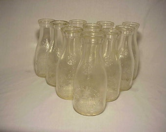 Group of Ten c1930s Chas. G. Bentley Tiverton, R.I.. Embossed Pint Milk Bottles , Great Wedding Decor