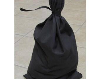 Black Canvas Money Bag Blank Bank Gift Deposit Transit Coin Tie String Sack Bag 12x19