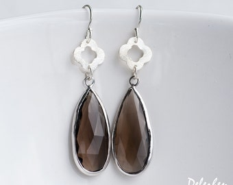 Smokey Quartz Earrings - Brown Gemstone Earrings - Four Leaf Clover earrings - Silver Earrings - Long Drop earrings