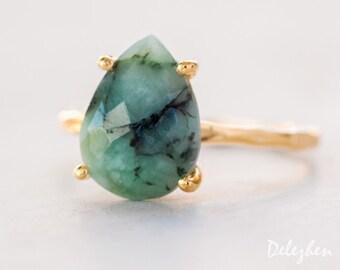 Green Raw Emerald Ring - May Birthstone Ring - Gemstone Ring - Stacking Ring - Gold Ring - Tear Drop Ring - Prong Set Ring