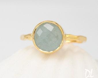 Round Aquamarine Stone Ring - March Birthstone Ring - Gemstone Ring - Stacking Ring - Gold Ring - Round Ring