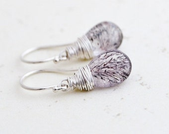 Moss Amethyst Sterling Silver Earrings, Wired Wrapped, February Birthstone, Gift for Under 30