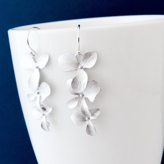 Cascading Silver Orchid Flower Earrings, Argentium Sterling Silver French Hoops, Tropical Flower, Gift for Her, Gift Under 25