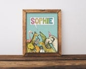 Personalised Zoo Colour Baby and Children's Name Print
