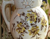 "Antique Cream & Brown Large Floral Ironstone Water Pitcher 11"" H."