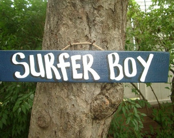 SURFER BOY - Country Primitive Rustic Wood Handmade Pool Hot Tub Sign Plaque