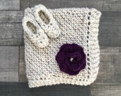 Baby Knit Blanket and Bootie Set with Flower // Wheat //