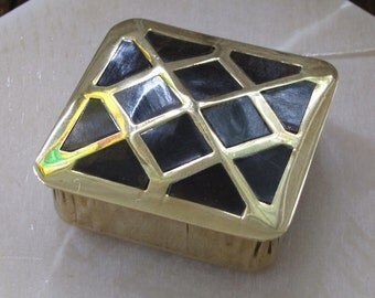 Vintage Brass Tortoise Shell Pill Box