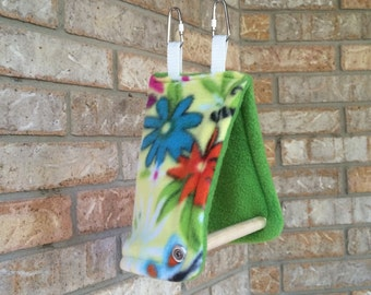 Cozy Bird Tent with Perch, Spring Floral Green Anti-pill Fleece. For Finches, Parakeets, Lovebirds and Parrotlets.