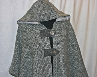 Gray wool hooded cape, hand woven hand made wool hooded cape, one size cape