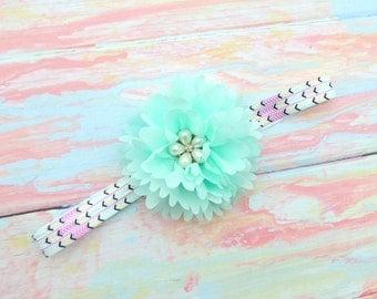 Aqua  flower bow - Aqua flower clip - Newborn headband - Baby shower gift - New baby gift - Flower bow - Newborn photo prop